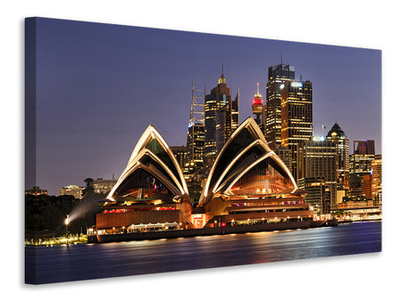 Canvas print Skyline With The Boat In Front Of Sydney
