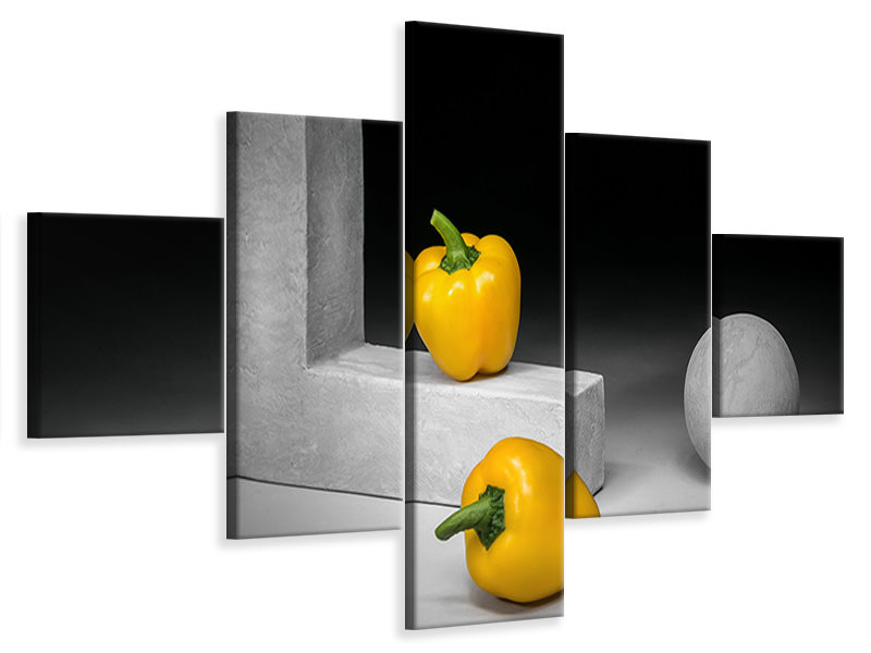 Tableau sur Toile en 5 parties Yellow Bell Peppers