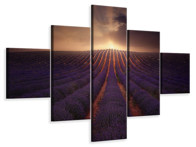 5 Piece Canvas Print In A Village Of La Mancha