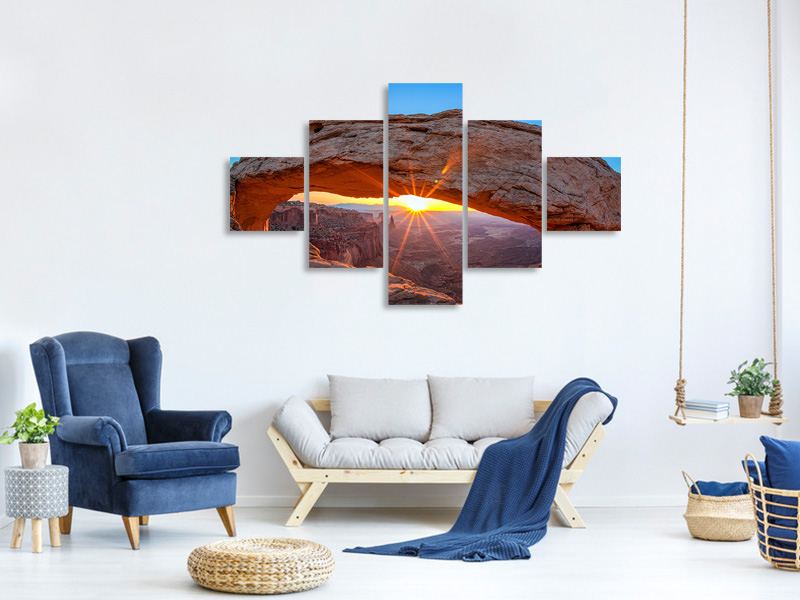 5 Piece Canvas Print Sunset At Mesa Arch