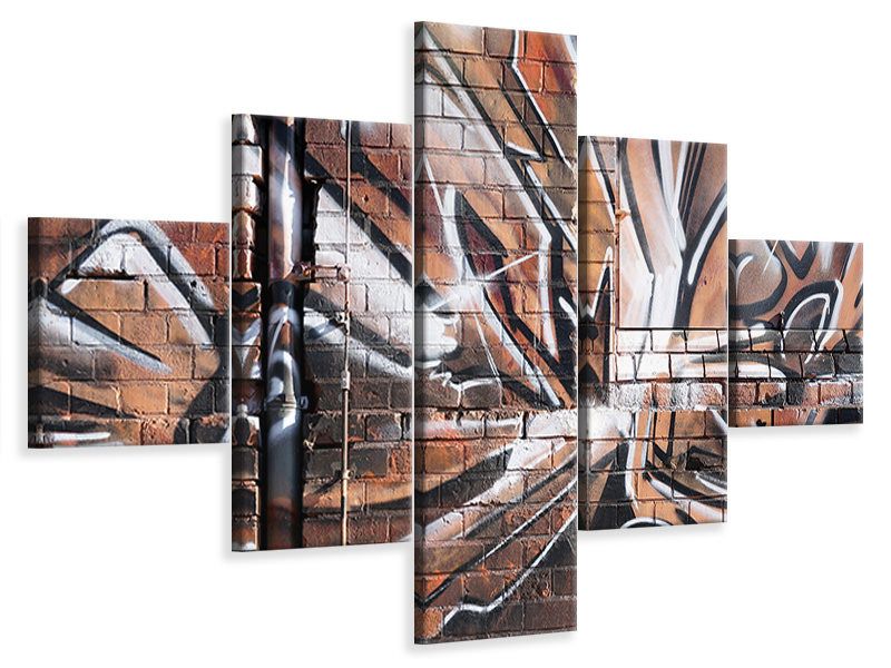 5 Piece Canvas Print Graffiti Wall