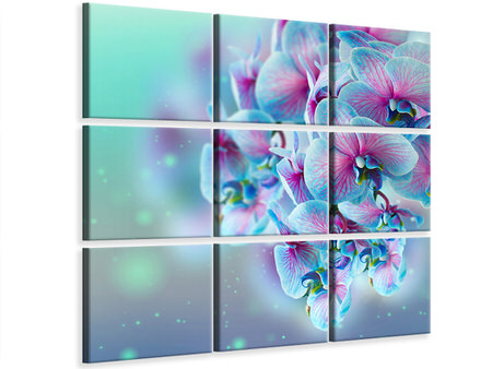 9 Piece Canvas Print Colored Orchids